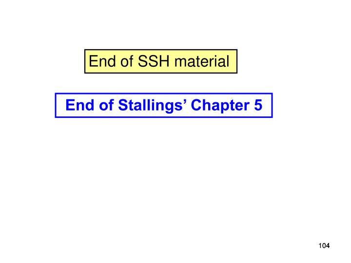 End of SSH material