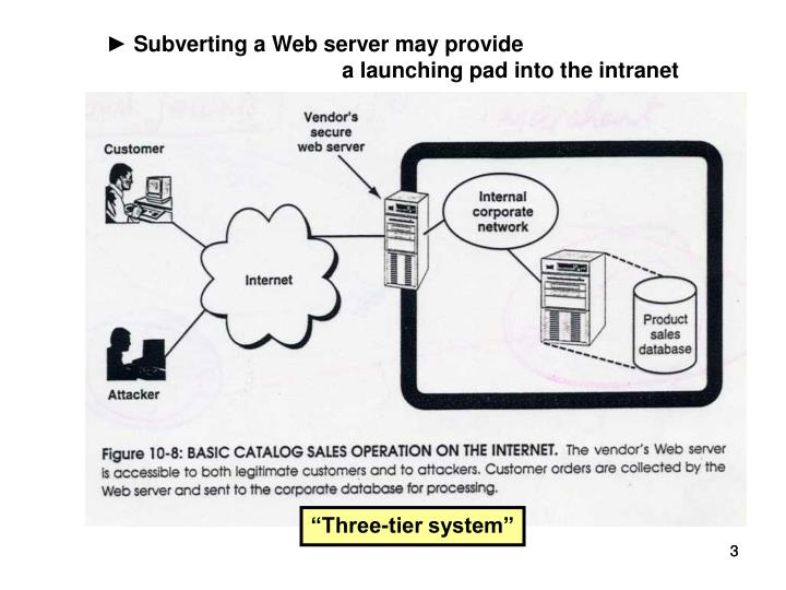 ► Subverting a Web server may provide