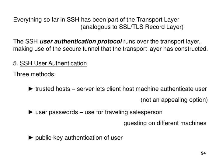 Everything so far in SSH has been part of the Transport Layer  (analogous to SSL/TLS Record Layer)