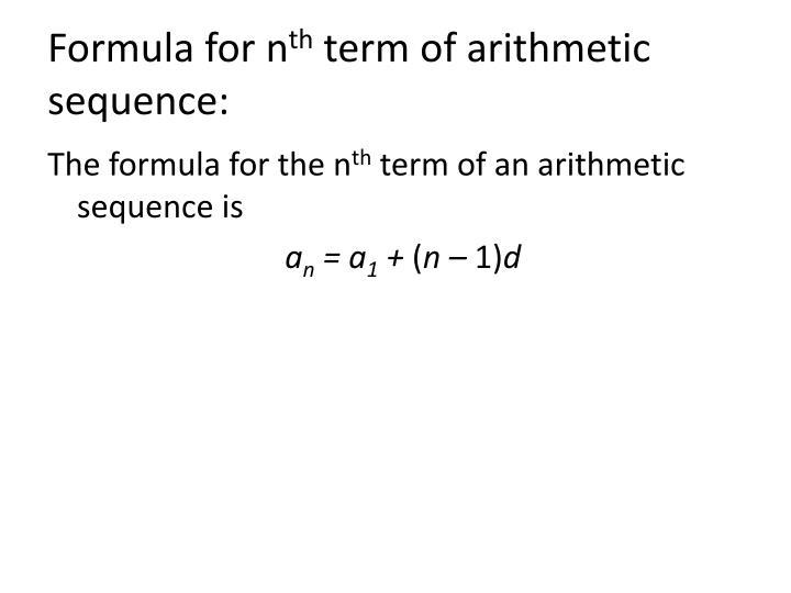 Formula for n