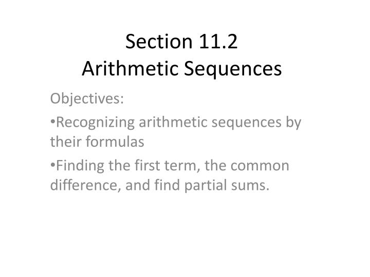 Section 11 2 arithmetic sequences