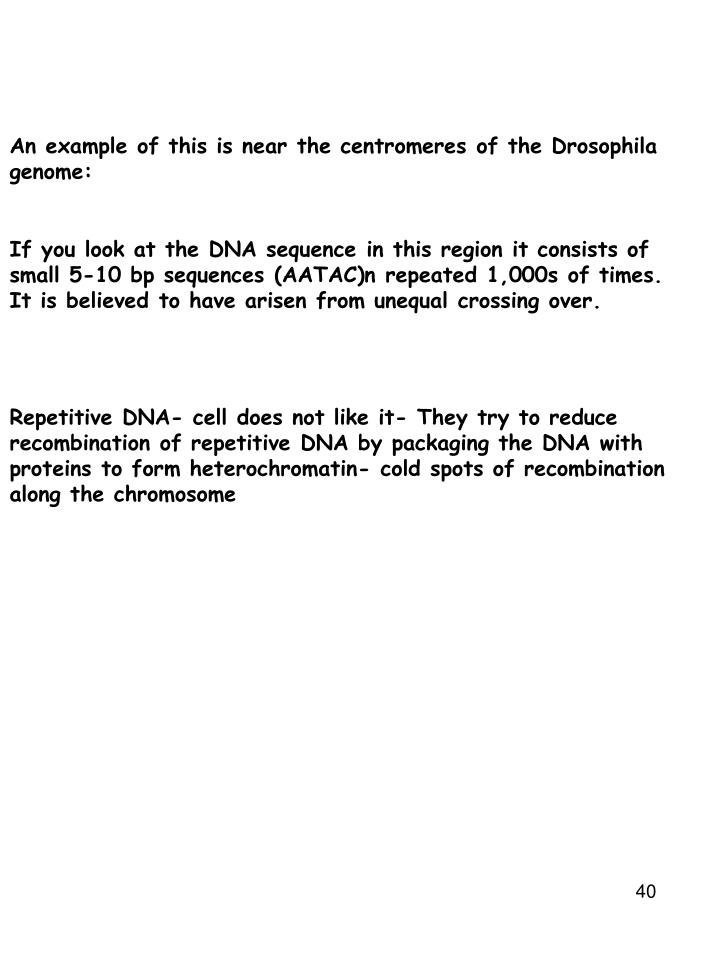 An example of this is near the centromeres of the Drosophila genome: