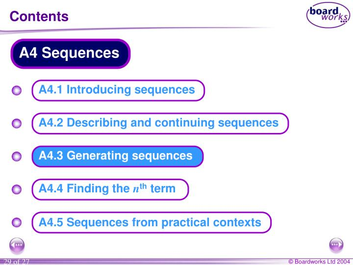 A4 Sequences