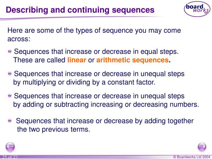 Describing and continuing sequences