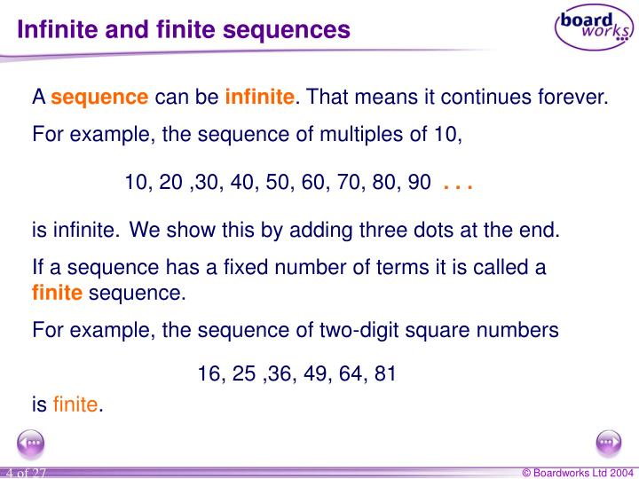 Infinite and finite sequences
