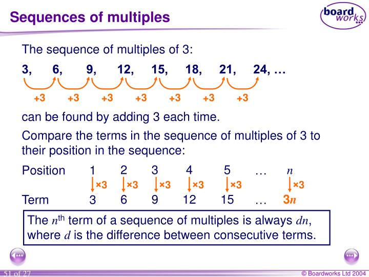 Sequences of multiples