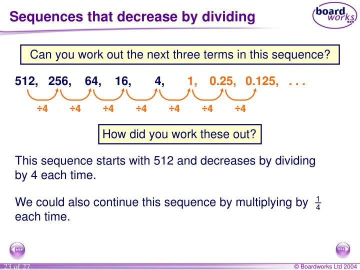Sequences that decrease by dividing
