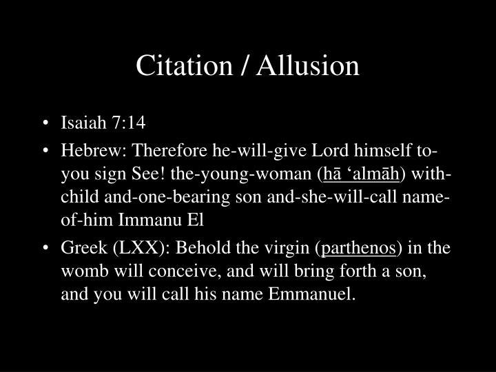 Citation / Allusion