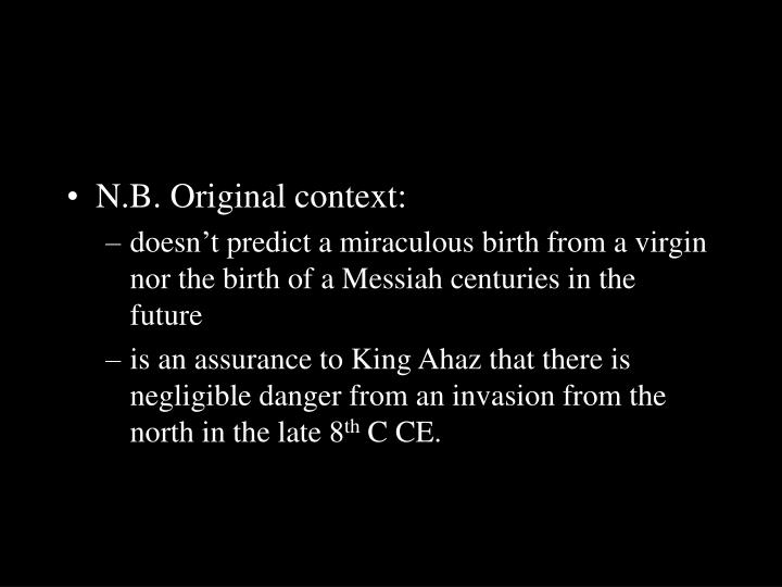 N.B. Original context: