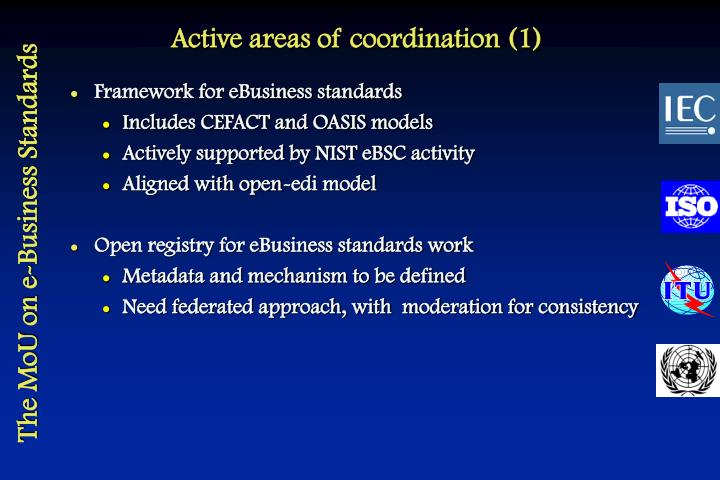 Active areas of coordination (1)