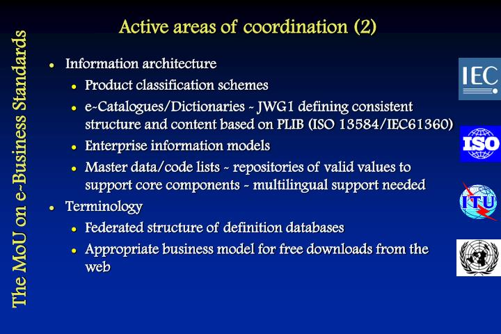 Active areas of coordination (2)