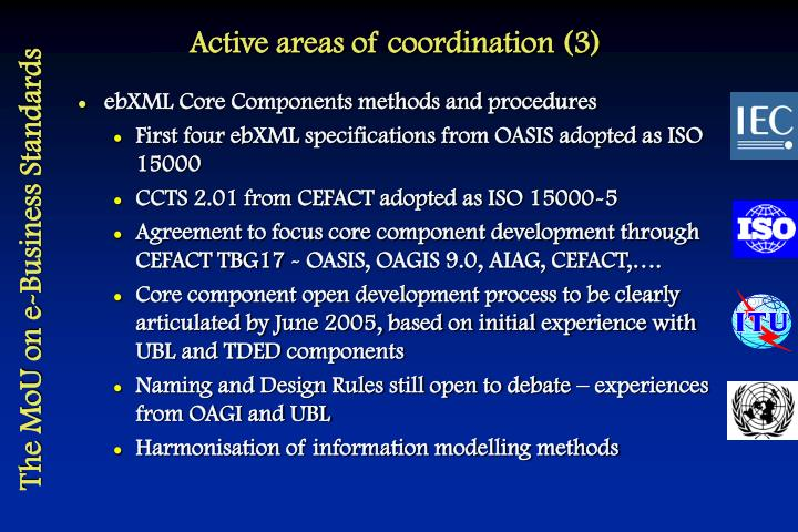 Active areas of coordination (3)