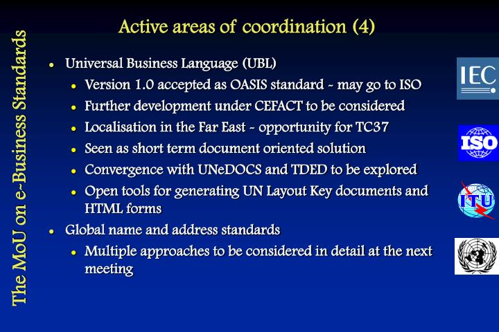 Active areas of coordination (4)