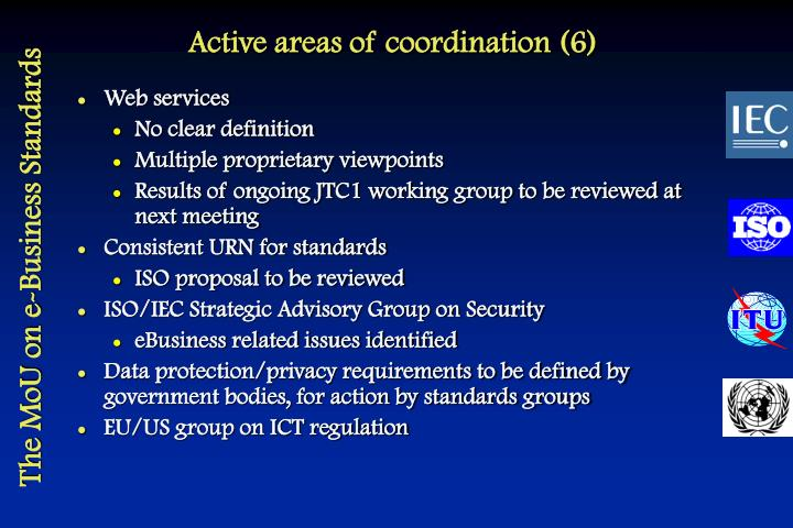 Active areas of coordination (6)