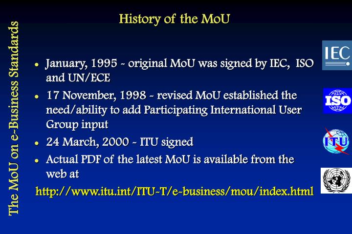 History of the MoU