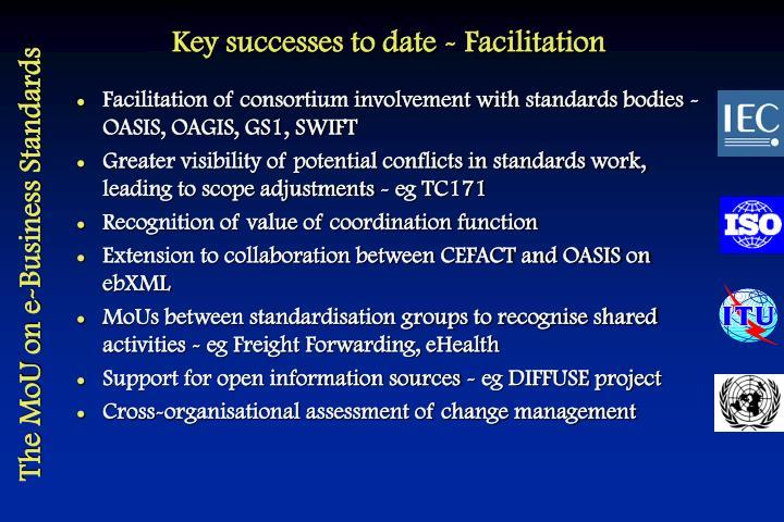 Key successes to date - Facilitation