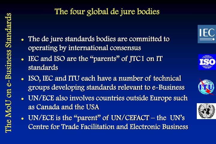 The four global de jure bodies