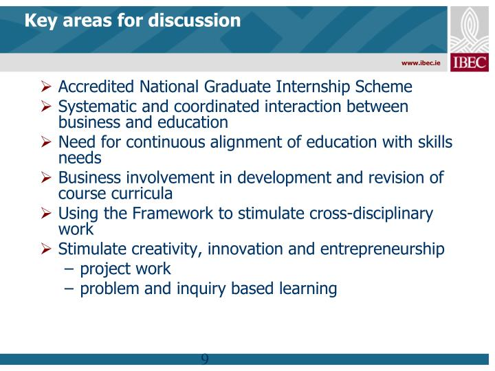 Key areas for discussion