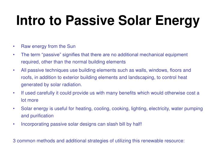 Intro to Passive Solar Energy
