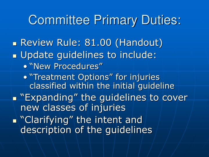 Committee Primary Duties: