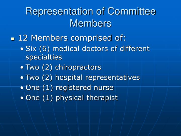 Representation of Committee Members