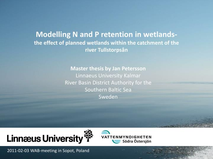 Modelling N and P retention in wetlands-