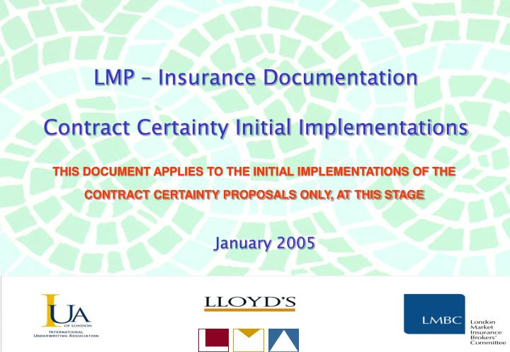 LMP – Insurance Documentation