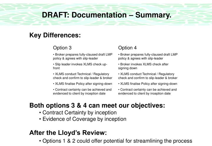 DRAFT: Documentation – Summary.