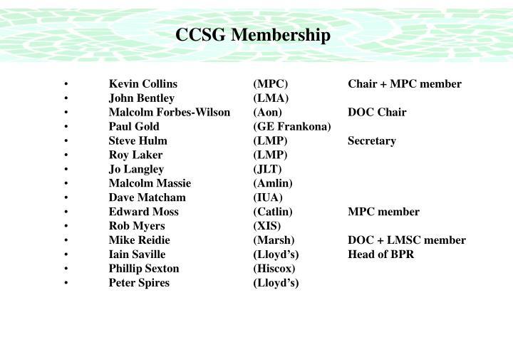 CCSG Membership