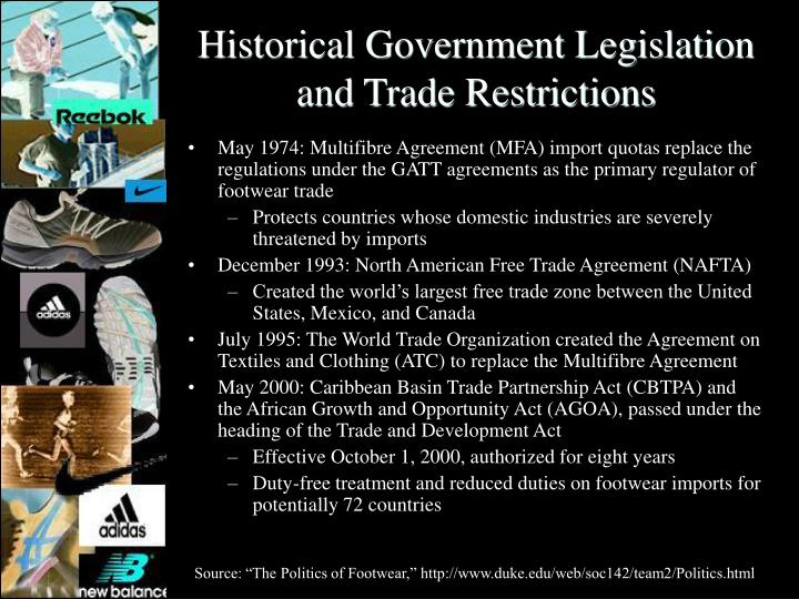 Historical Government Legislation and Trade Restrictions