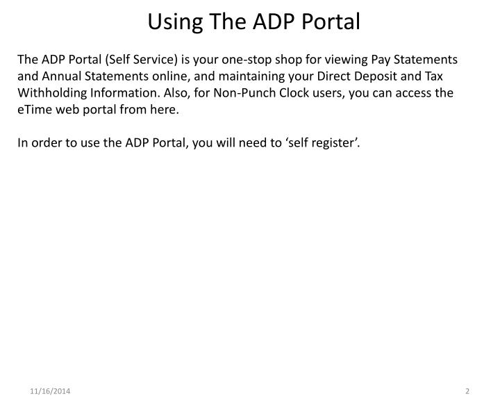 Using The ADP Portal