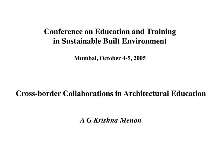 Conference on Education and Training