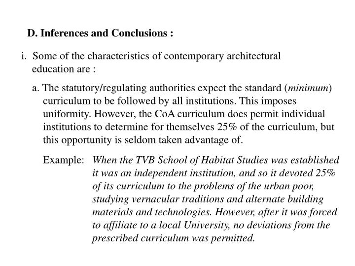 D. Inferences and Conclusions :