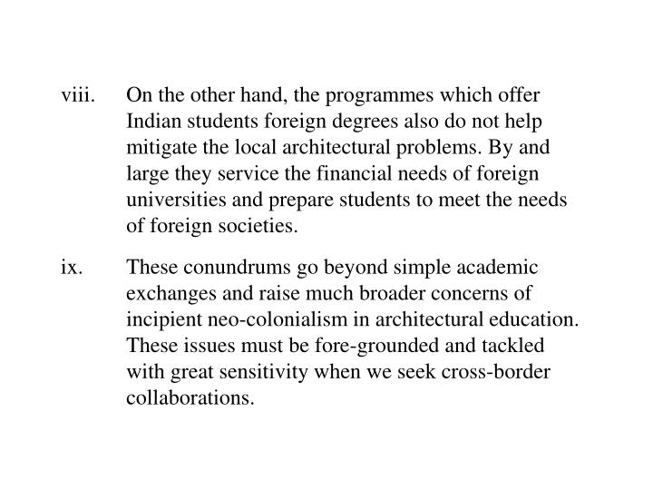 viii.On the other hand, the programmes which offer