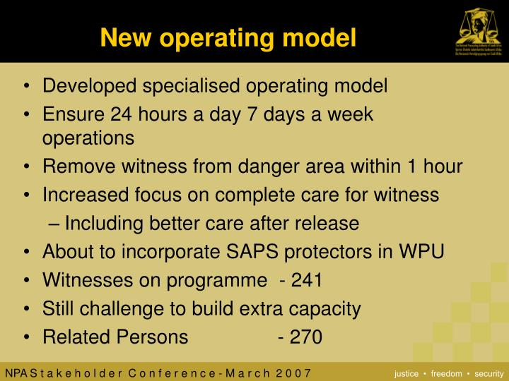 New operating model