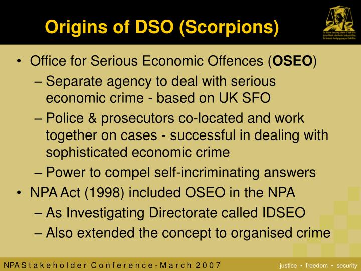 Origins of DSO (Scorpions)
