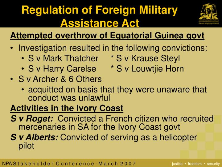 Regulation of Foreign Military