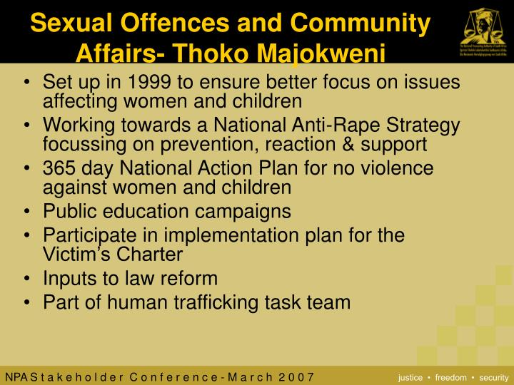 Sexual Offences and Community Affairs- Thoko Majokweni