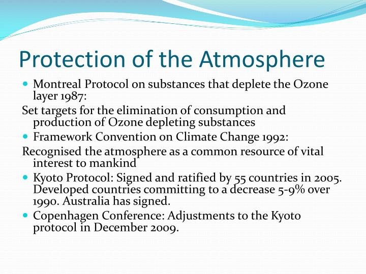 Protection of the atmosphere