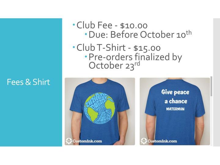 Club Fee - $10.00