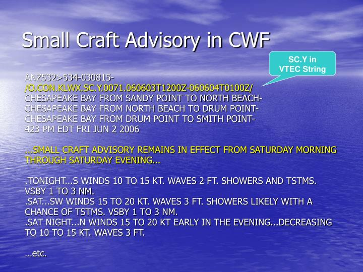 Small Craft Advisory in CWF
