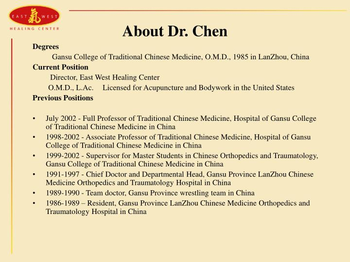 About Dr. Chen