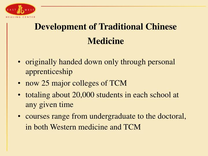 Development of Traditional Chinese Medicine