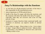zang fu relationships with the emotions