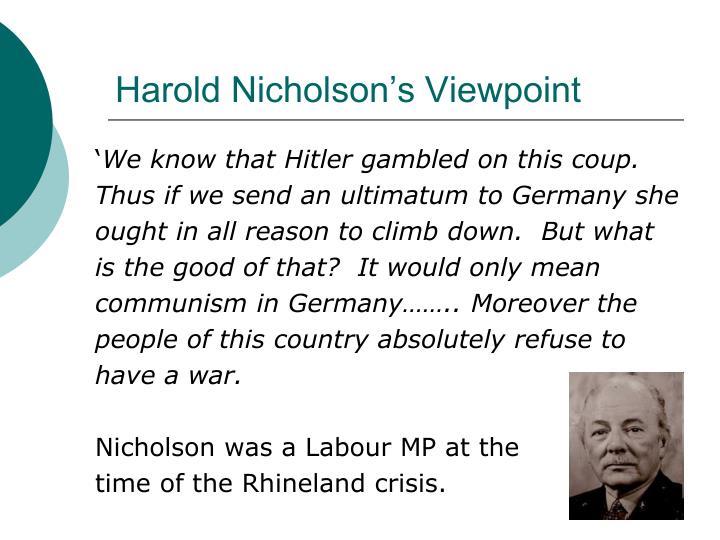 Harold Nicholson's Viewpoint