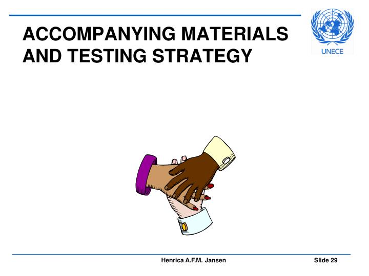ACCOMPANYING MATERIALS AND TESTING STRATEGY