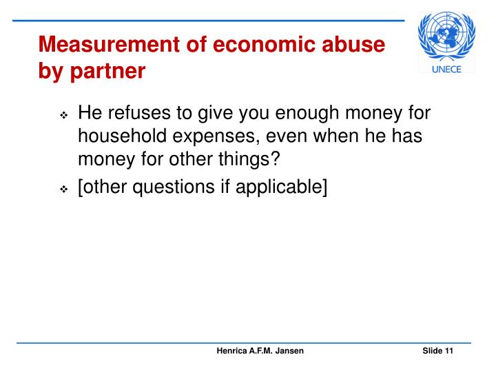 Measurement of economic abuse by partner