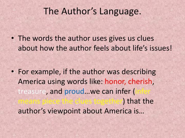 The Author's Language.