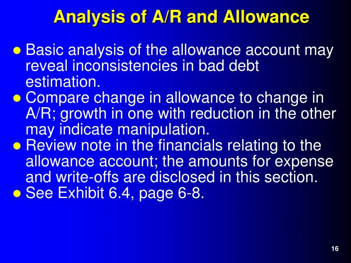 Basic analysis of the allowance account may reveal inconsistencies in bad debt estimation.