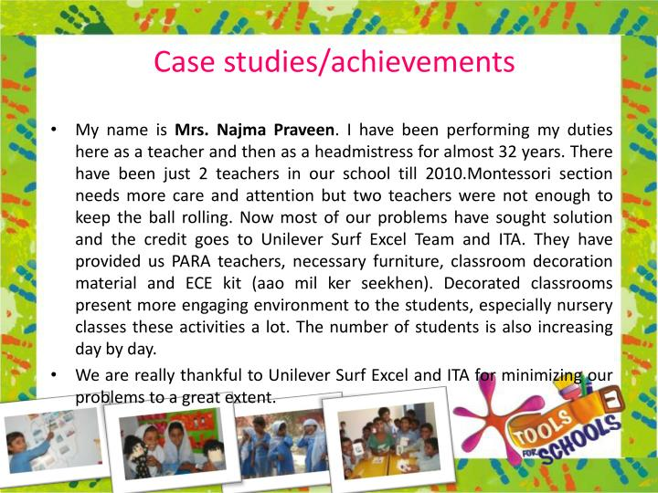 Case studies/achievements